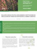 RELACIÓN CIENCIA-POLÍTICA: MECANISMOS E INSTITUCIONES DE VINCULACIÓN EN TEMAS DE ADAPTACIÓN AL CAMBIO CLIMÁTICO